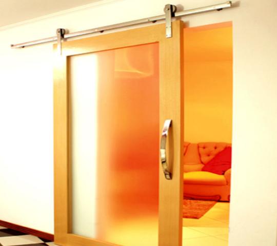 Kit Porta de Correr Madeira 2m até 50kg - Aço Inox Polido ou Escovado