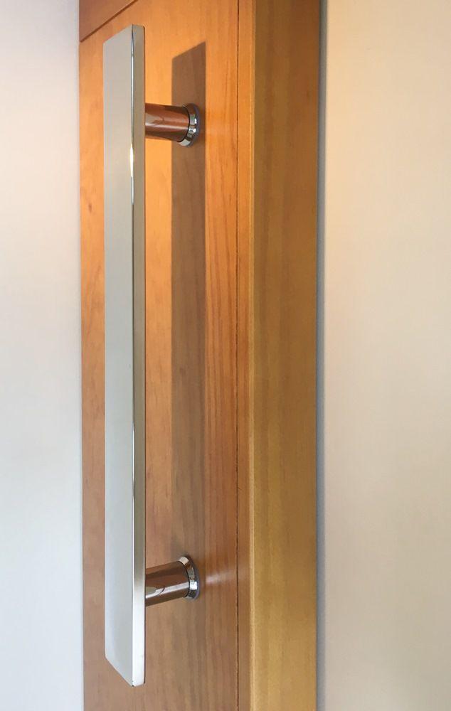 Puxador Duplo para portas Plano |  Aço Inox 304 Polido  |  Diversos Tamanhos