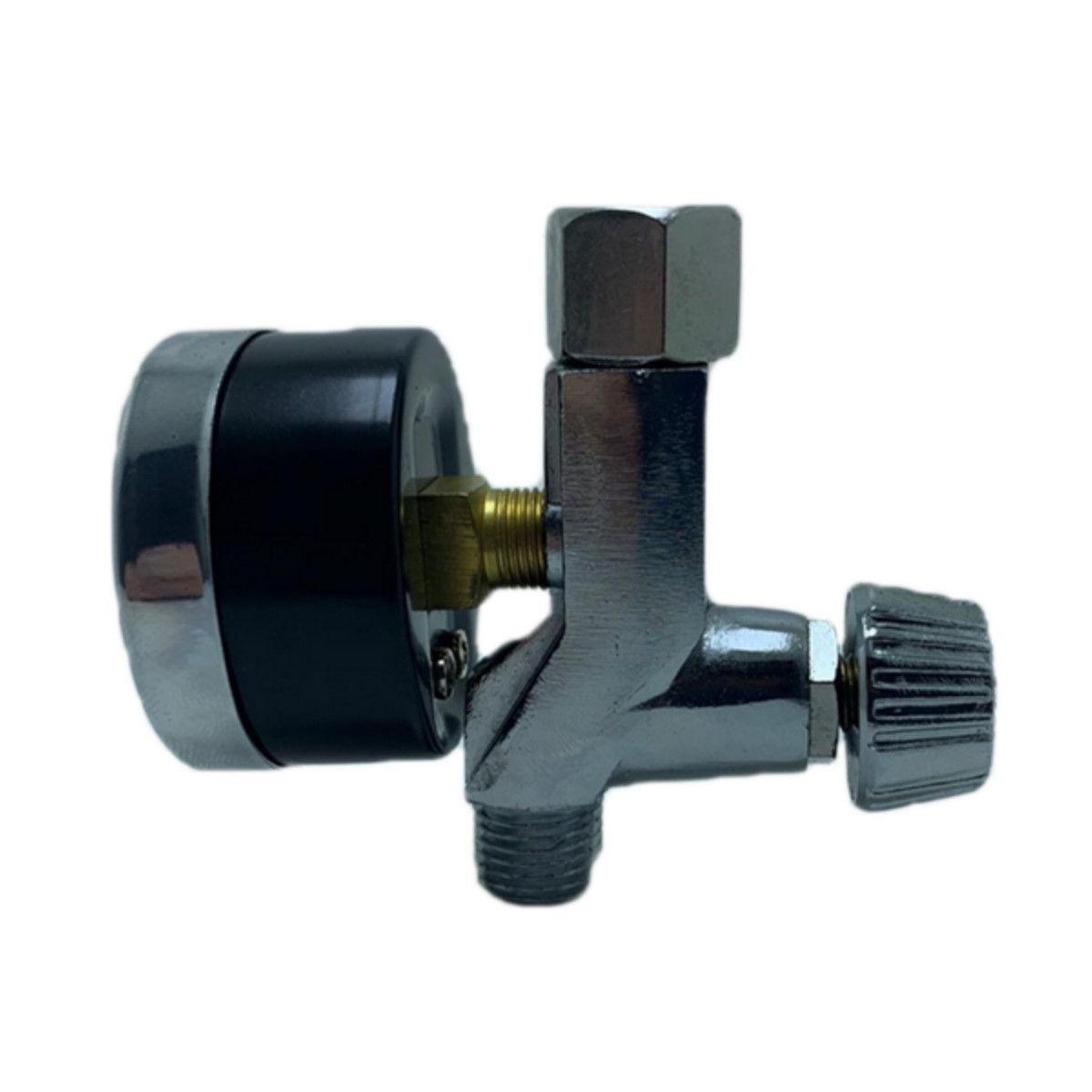 Kit 2 Regulador Válvula Pressão Para Pistola De Pintura Manômetro
