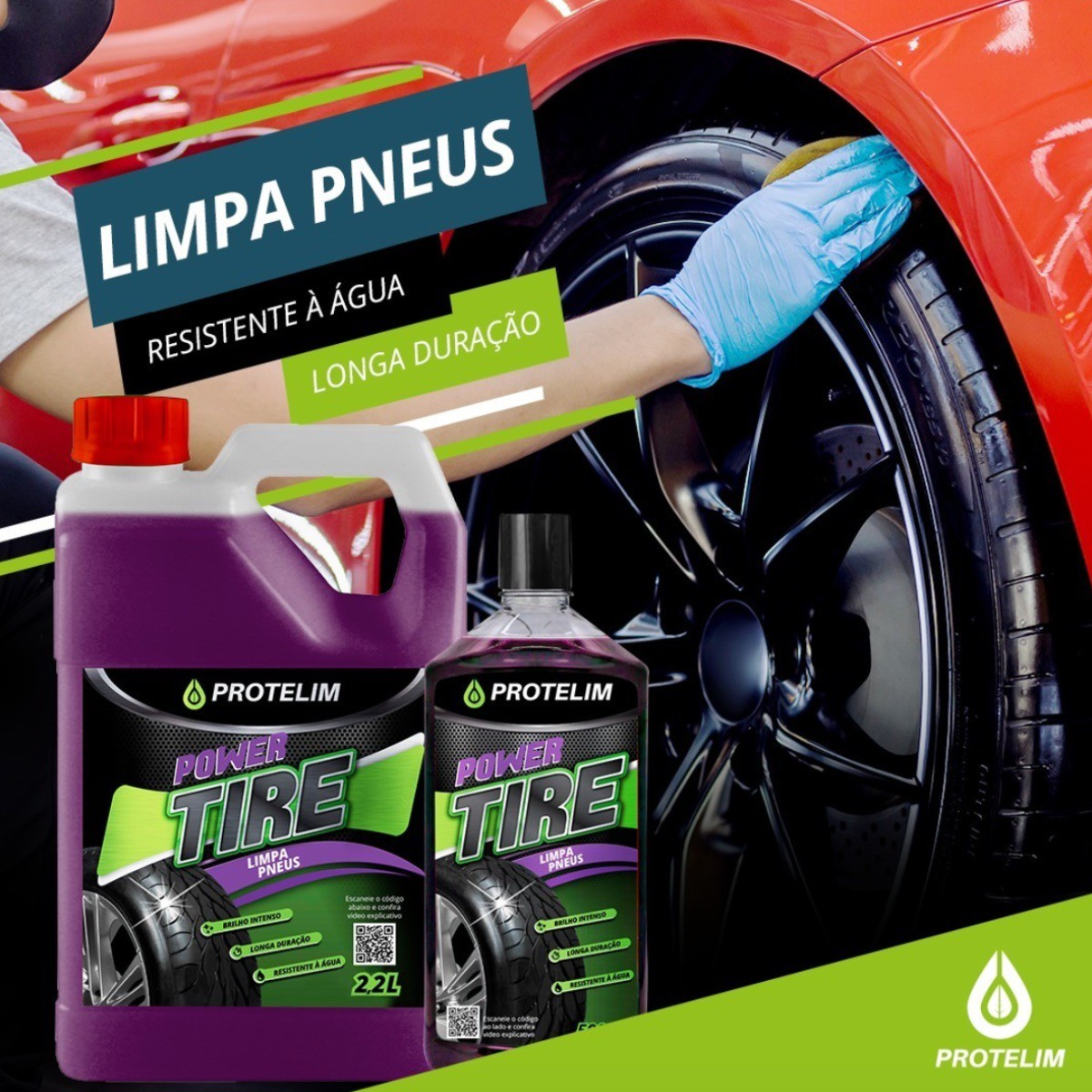 2 Uni Pretinho Limpa Pneu Hidrata Power Tire 2,2L Protelim