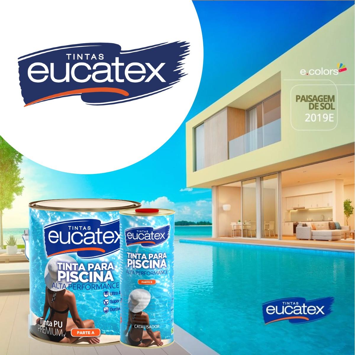 2 Uni Tinta Impermeabilizante Piscina Azul PU Eucatex 3,6L