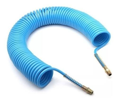 Kit Mangueira Espiral Azul 15 Mts Rosca 1/4 Fêmea E Conexões