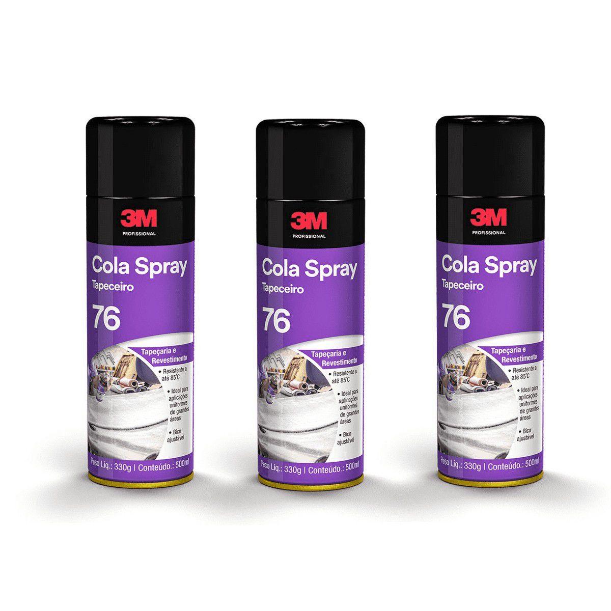 Adesivo Spray 3m 76 Cola Forro Espuma Tecido 3 Peças 330g