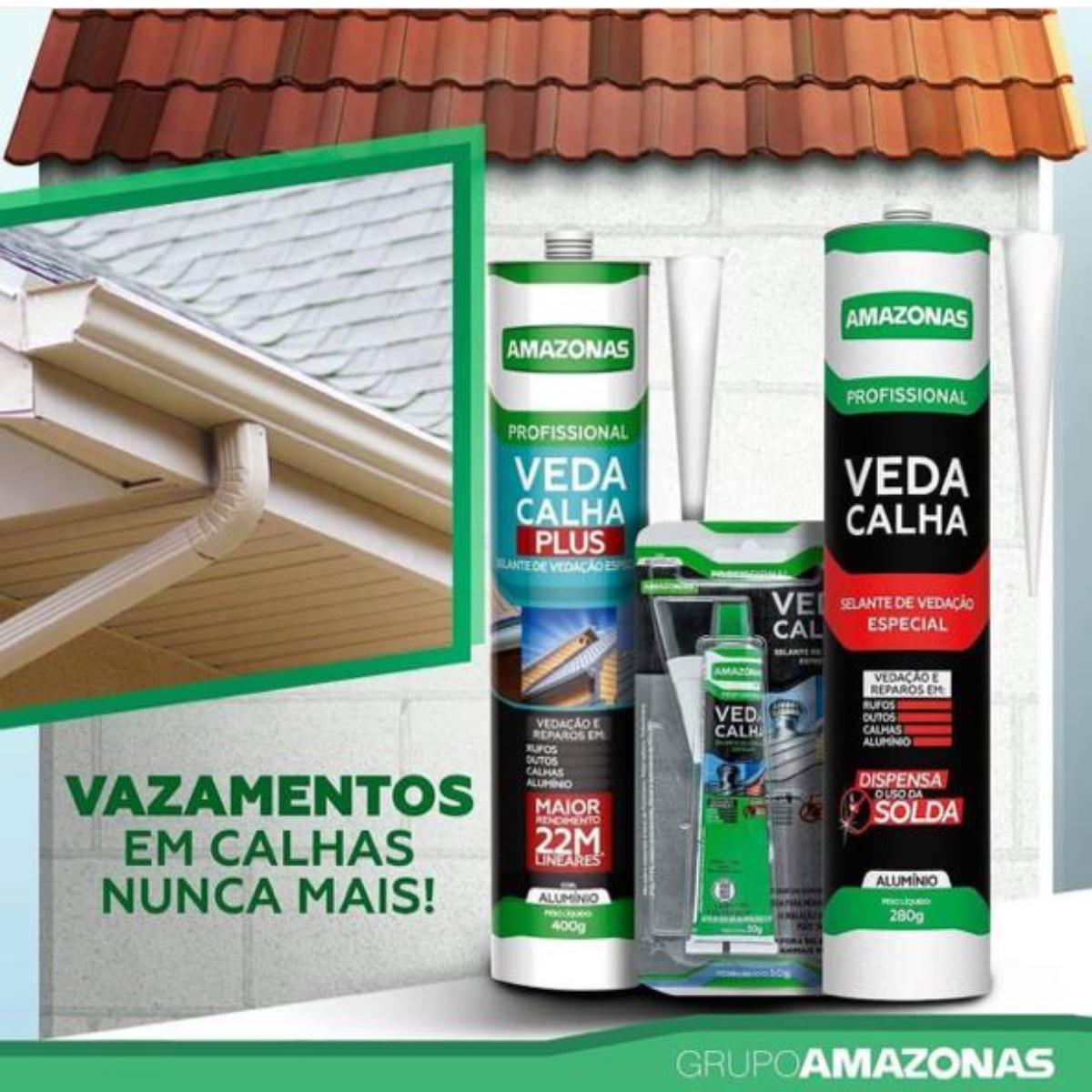 Adesivo Veda Calha Selante Vedação Amazonas 280g Kit 3 Uni