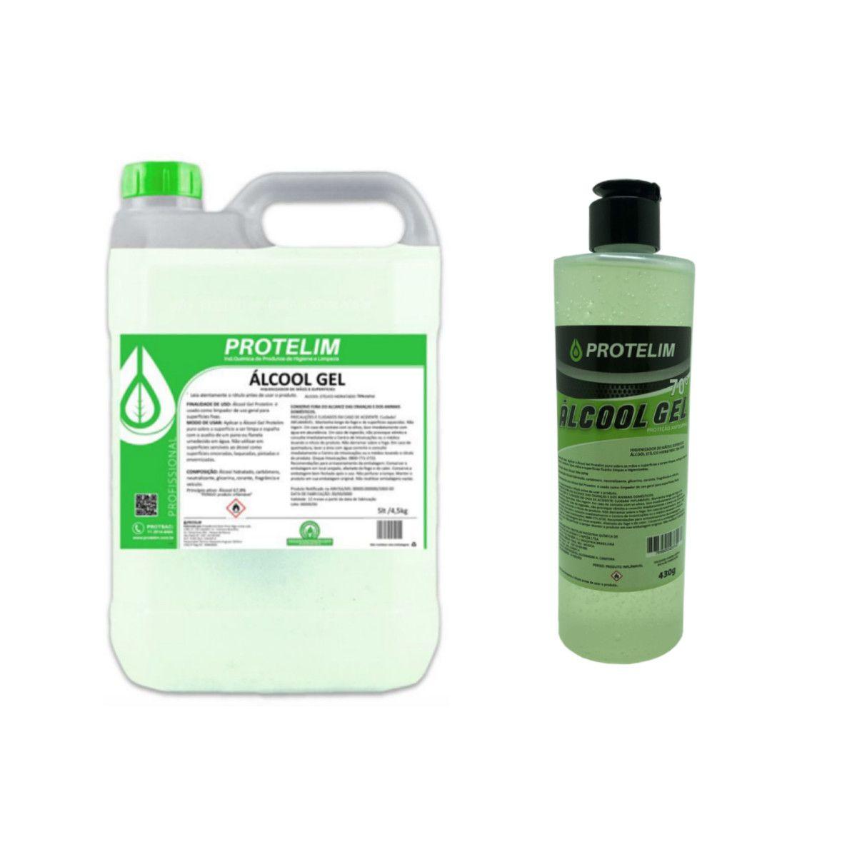Álcool em Gel 70% Higienizador 430g c/ Refil 4,4L