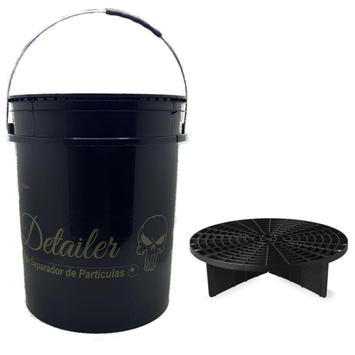 Balde Com Separador De Partículas Preto 18 Litros Detailer / Mandala + Escova Caixa de Roda Pequena