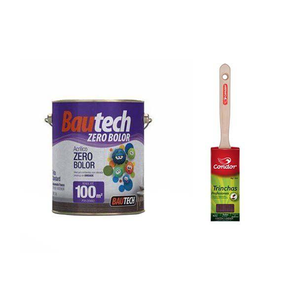 Bautech Tinta Acr. Zero Bolor 3,6l Branco + Pincel Cond. 2''
