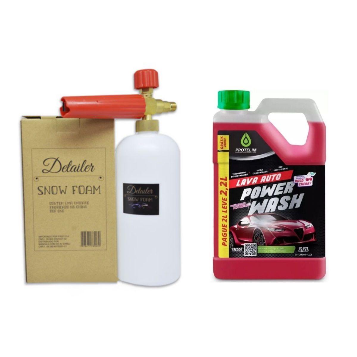 Canhão Espuma Snow Foam + Shampoo P/ Limpeza Automotiva 2,2L