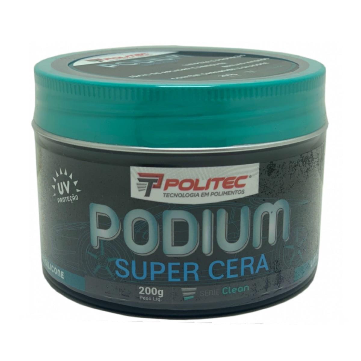 Cera Carnaúba e Silicone Podium Proteção UV Politec 200g