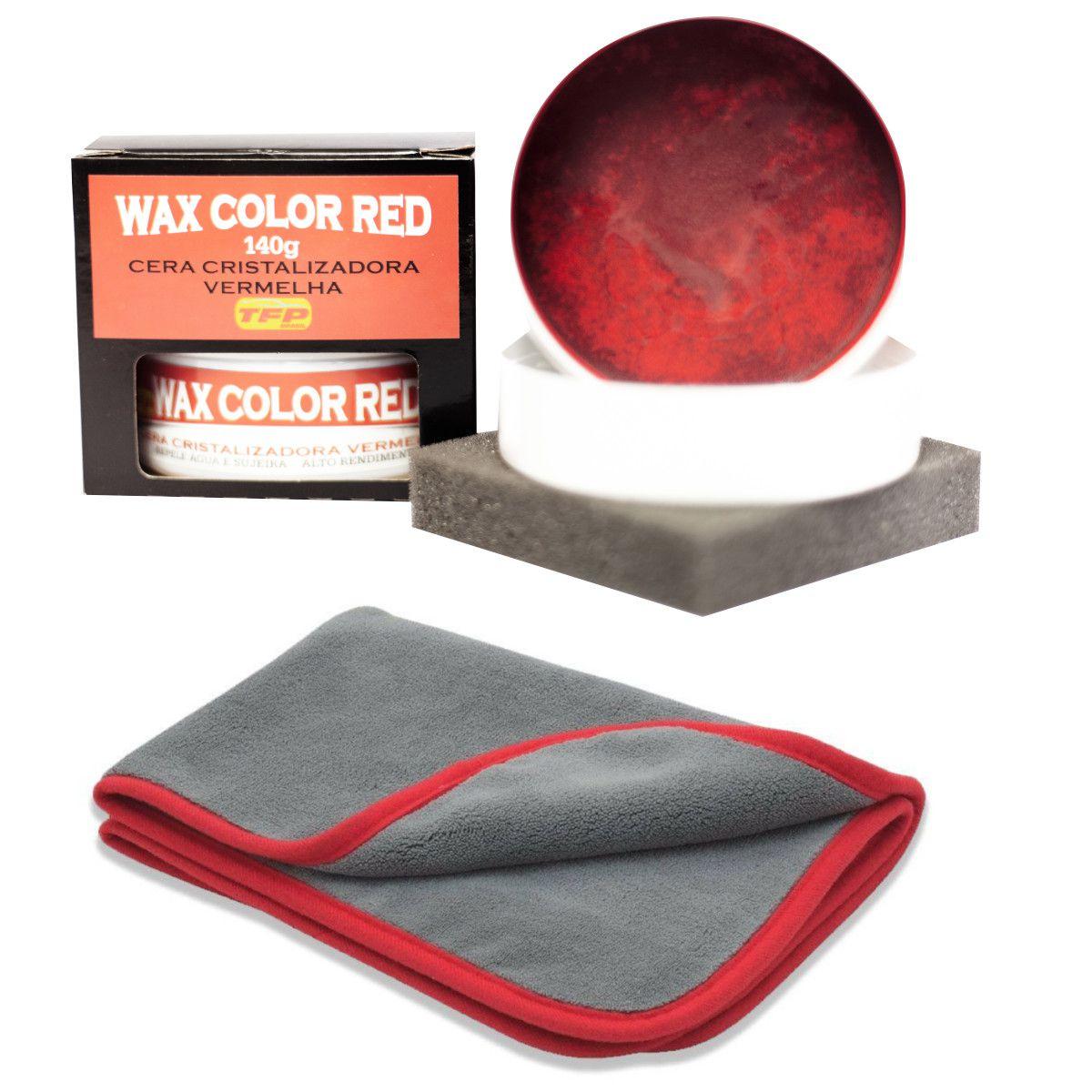 Cera Cristalizadora P/ Carros Vermelhos Wax Color Red + Flanela Microfibra