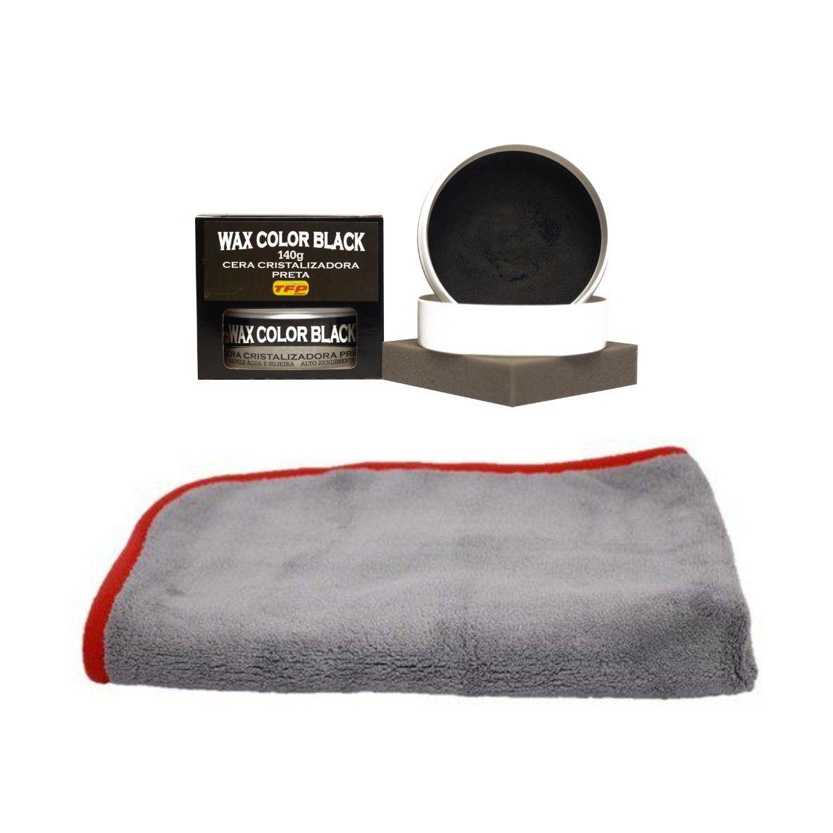 Cera Cristalizadora Wax Color Black Carros Escuros + Flanela Microfibra