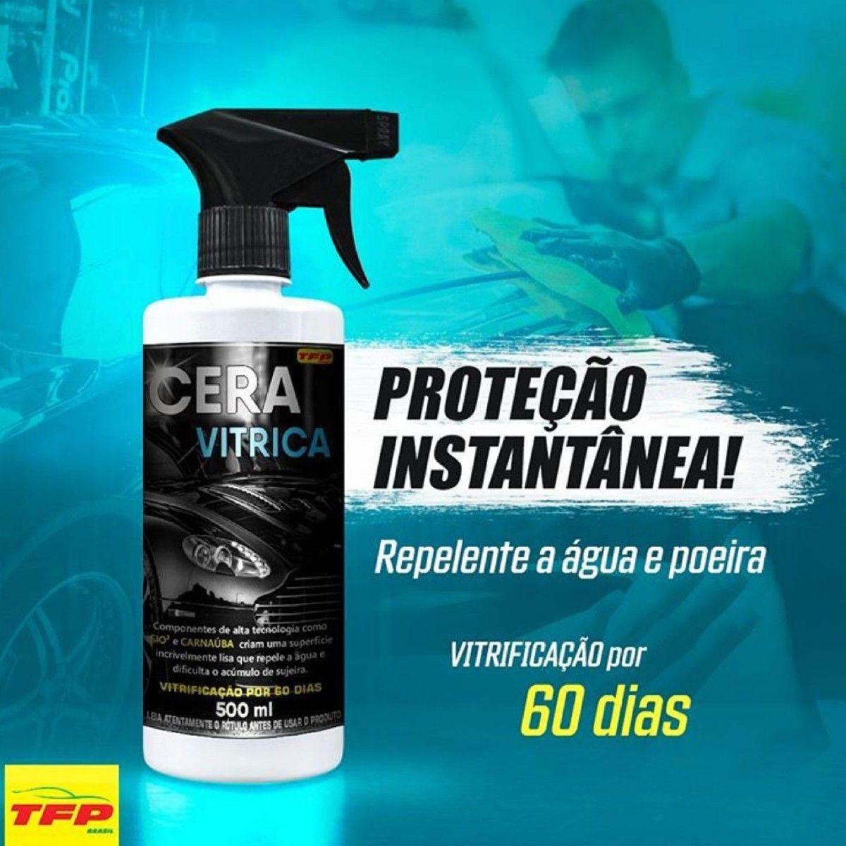 Cera Liquida Automotiva Vitrica Cristalizadora 500ml + Pano Microfibra