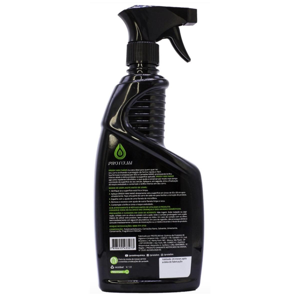 Cera Repele Água e Brilho Intenso Spray Speed Wax Nano 600ml