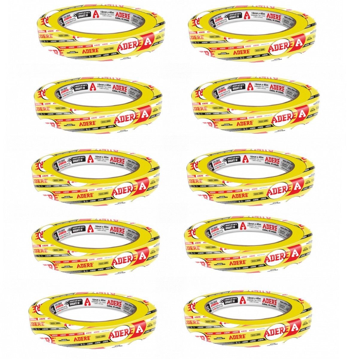 Fita Crepe Amarela P/ Pintura Automotiva 24x40 40 Unidades