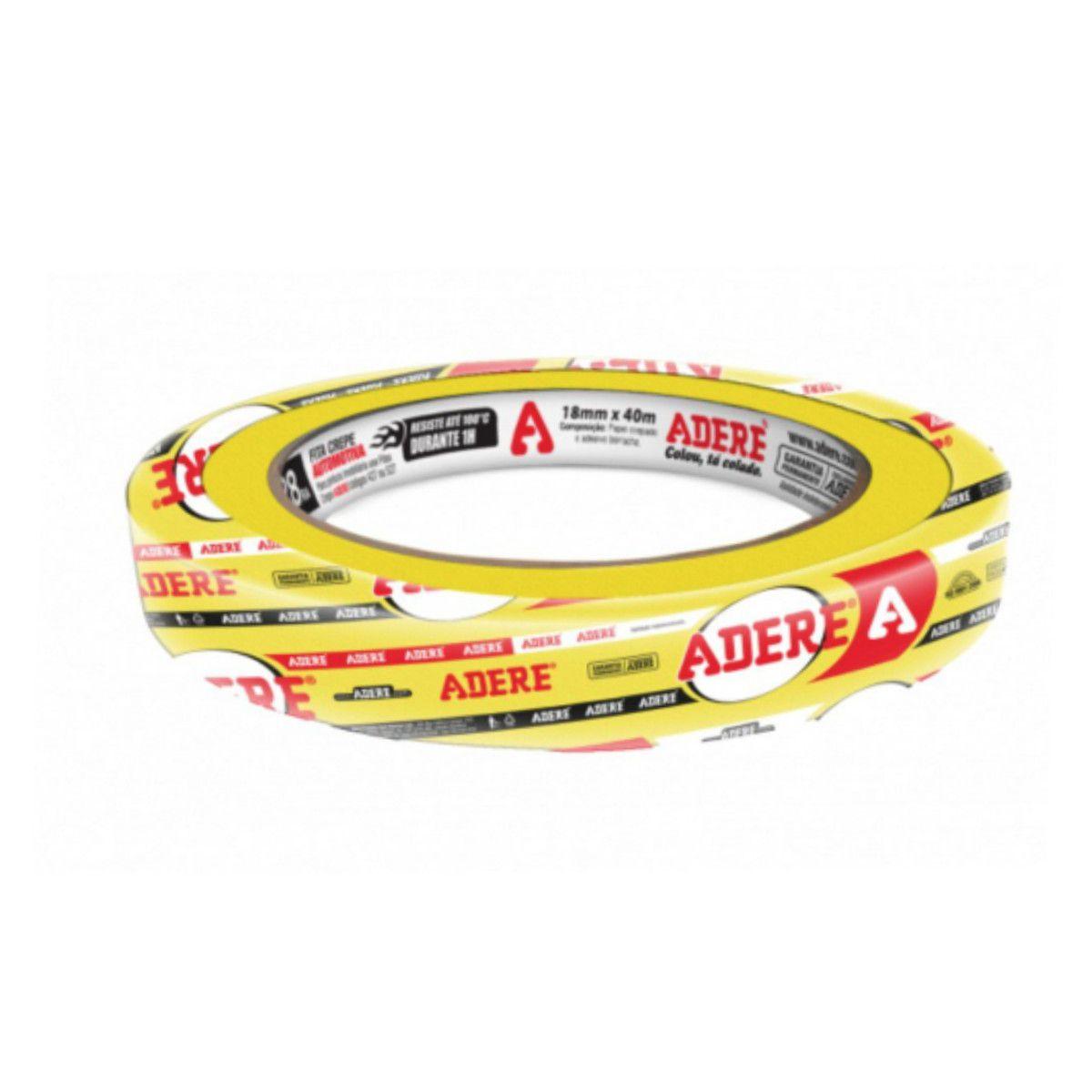 Fita Crepe Amarela P/ Pintura Automotiva Prof. Adere (1 Un) 18mmx40m