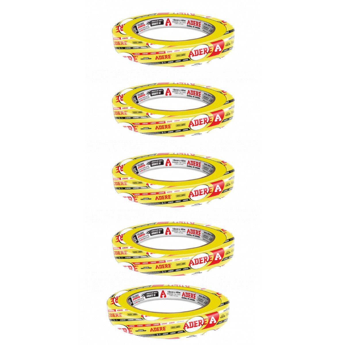 Fita Crepe Amarela P/ Pintura Automotiva Profissional Adere 18mmx40m (5 Un)