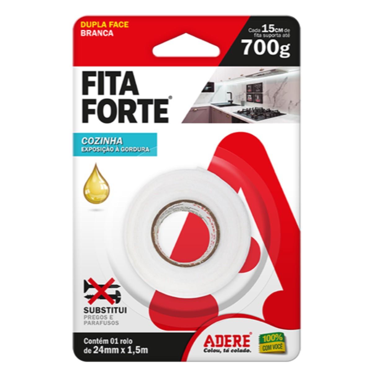 Fita Dupla Face Fita Forte 24mm X 1,5m Adere 15kg Cozinha