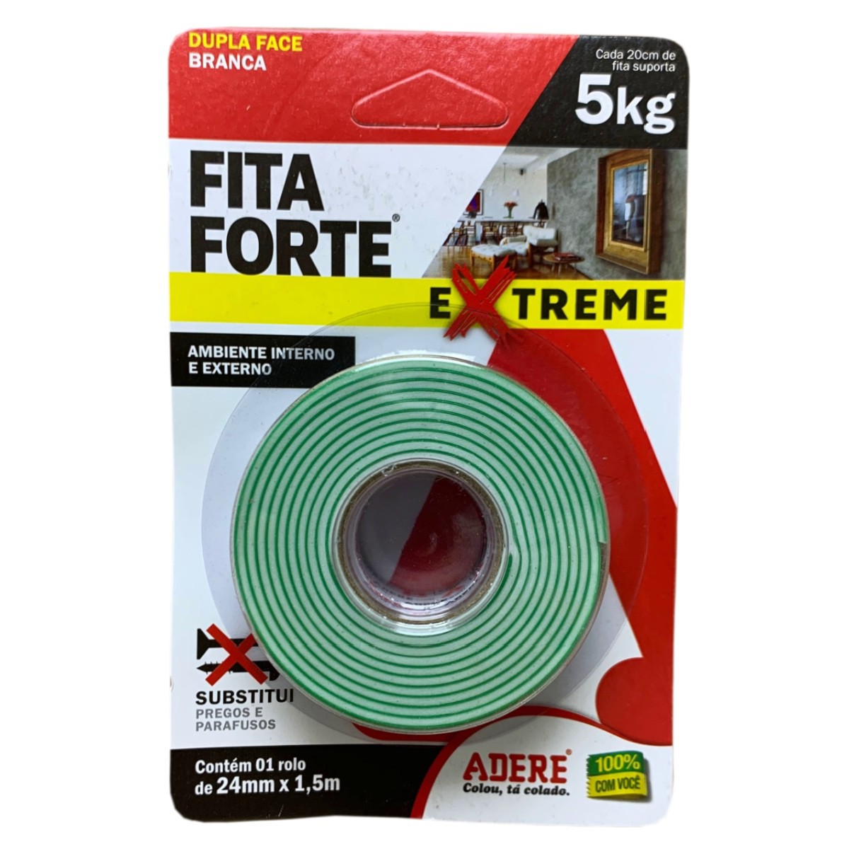 Fita Dupla Face Fita Forte 24mm X 1,5m Adere 5kg Extreme
