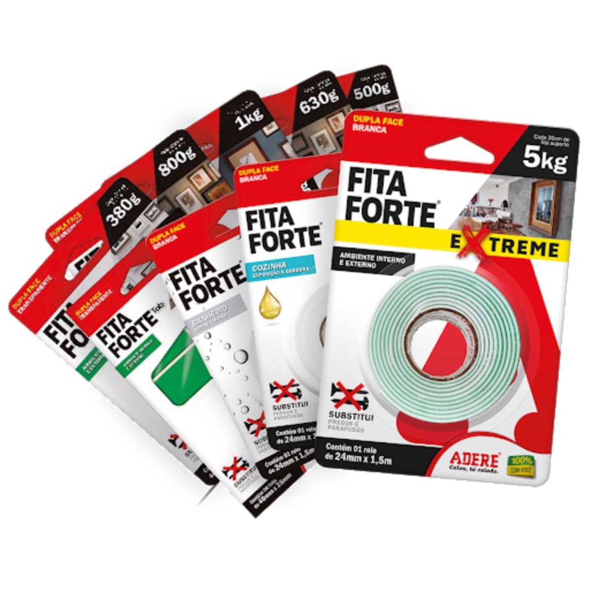 Kit Dupla Face Fita Forte 24mmX1,5m 15kg Cozinha e Banheiro