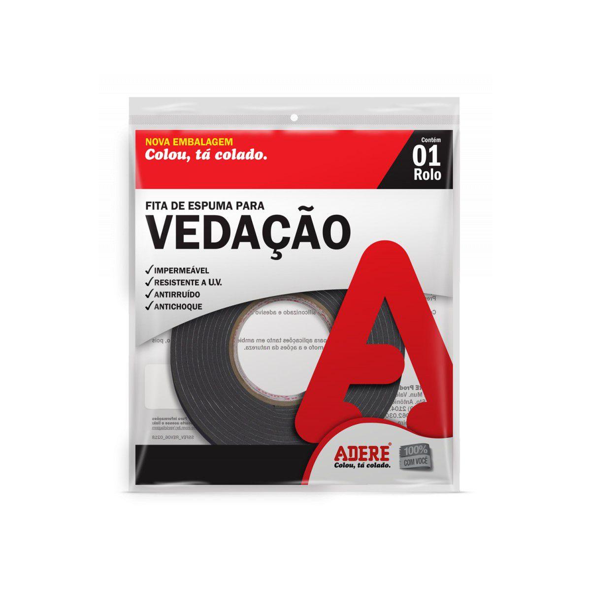 Fita Espuma Vedação 19mmx5m Autoadesiva E104s Adere