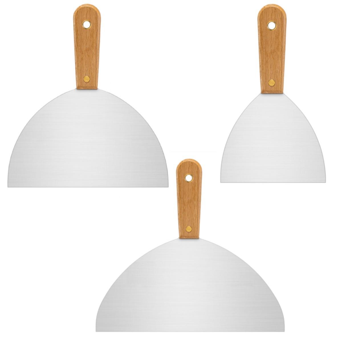 Jogo Espatula de Inox 25cm, 20cm e 12,5cm Gesso e Drywall