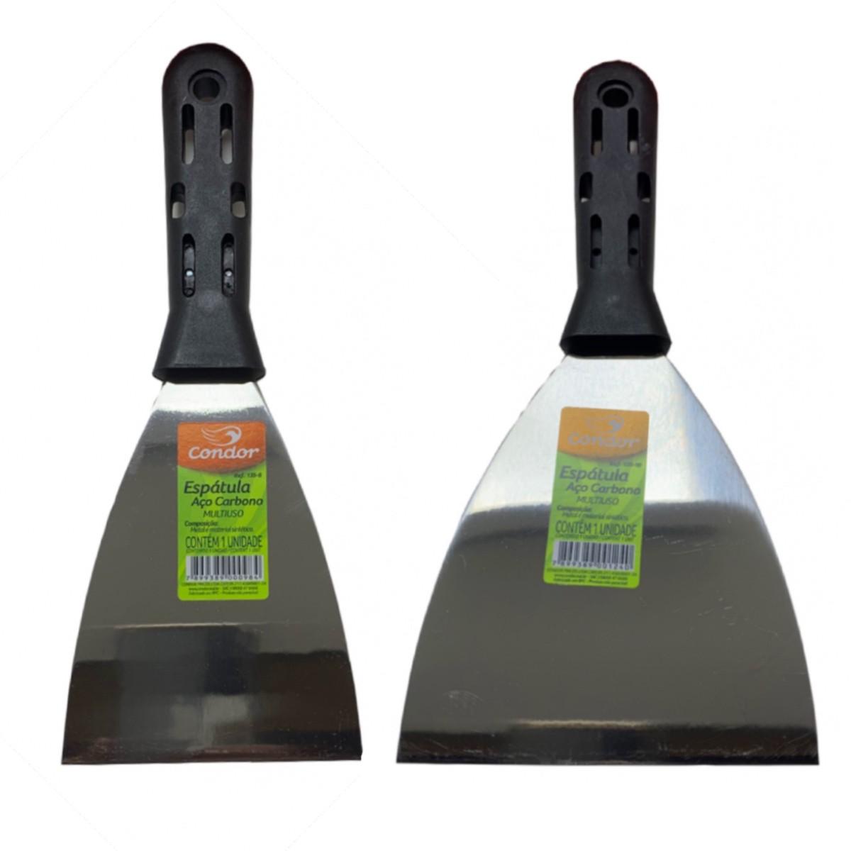 Kit 5 Espatulas Aço Carbono 4cm, 6cm, 8cm, 10cm e 12cm