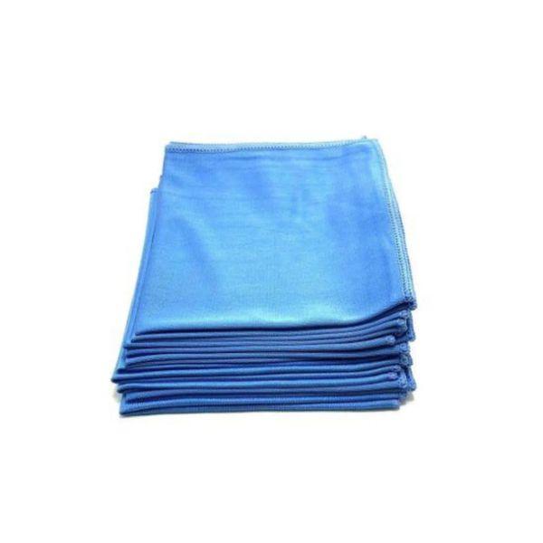 Kit Flanela Para Limpeza de Vidros 38x38cm Azul Detailer 10 Unidades