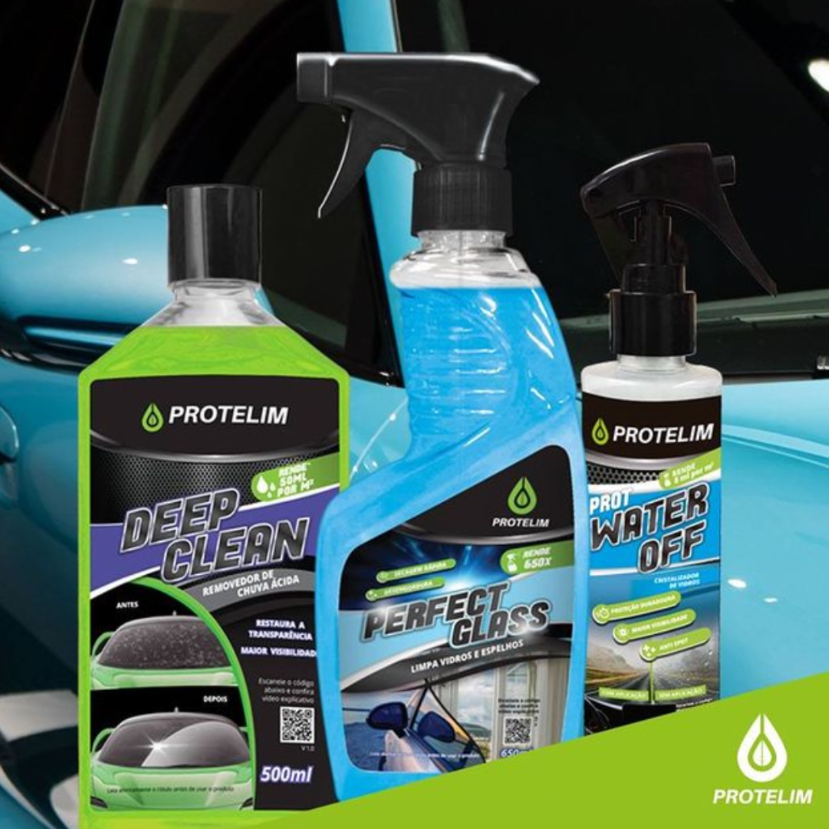 Kit Limpa e Cristaliza Deep Clean, Perfect Glass e Water Off