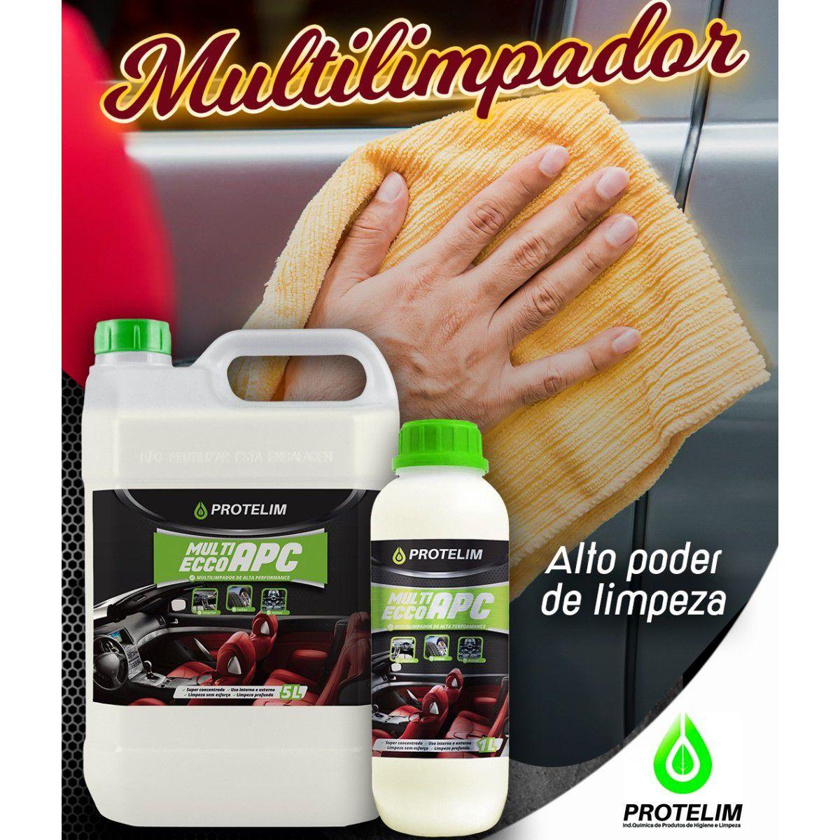 Kit Multilimpador de Alta Performance Protelim APC Multi Ecco Detalhamento Automotivo 1 Litro + 2 Escovas p/ Carpete