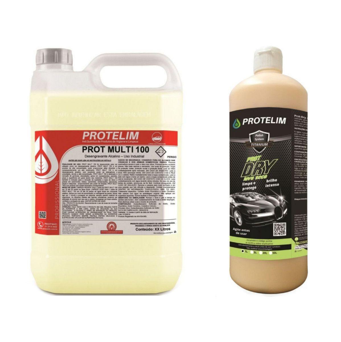Lava A Seco Prot-dry 1l + Prot Multi 100 Multiuso Concentrado 5l Protelim