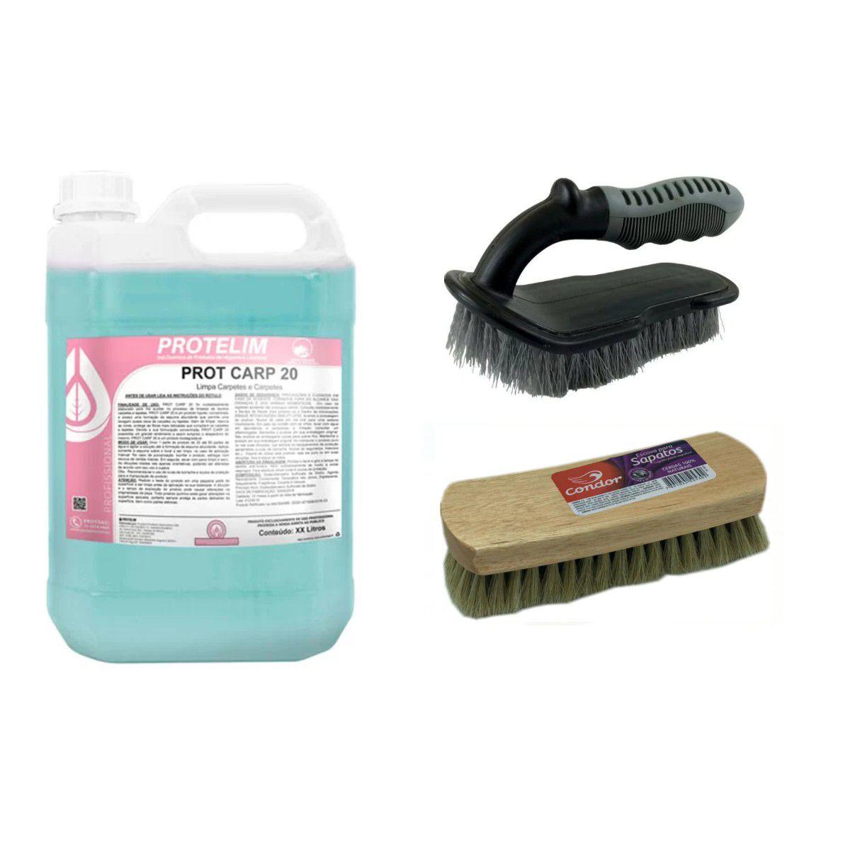 Limpa Carpete + Escova Cerdas Duras + Escova Cerdas Macias