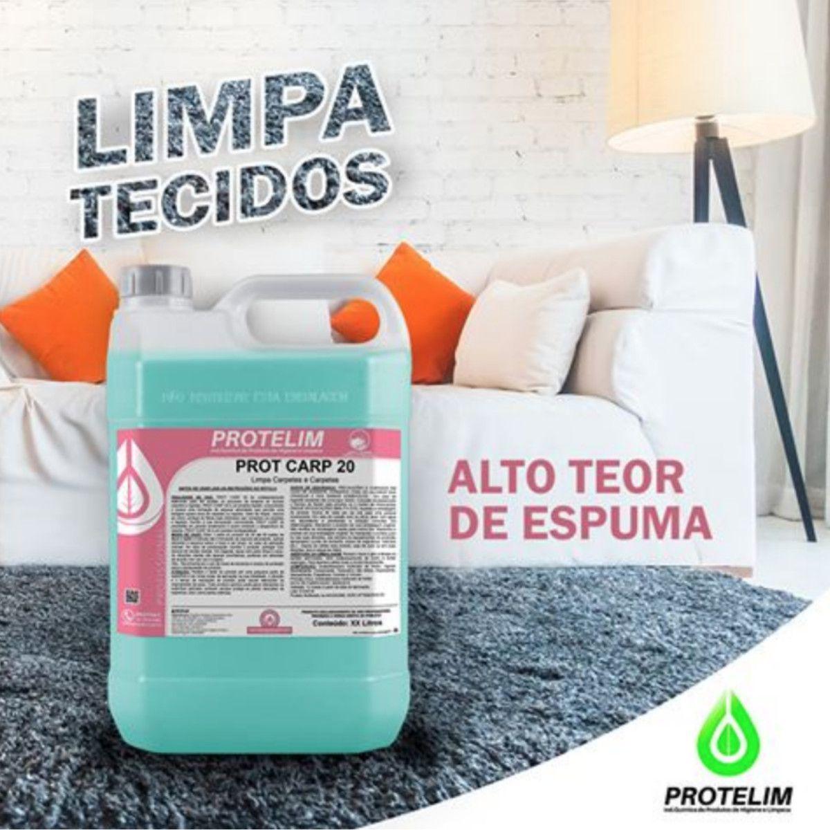 Limpa Estofado e Carpete Prot Carp 20 Protelim 5 Litros + Escova De Carpetes