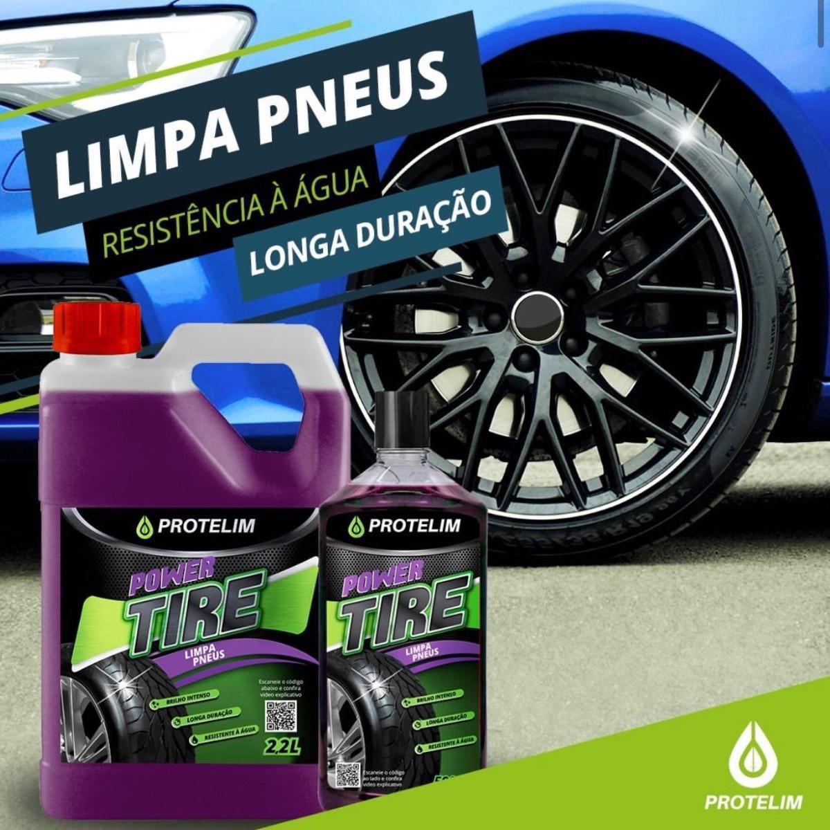 Pretinho Power Tire 500ml + 4 Escovas Pneu BRINDE Aplicador
