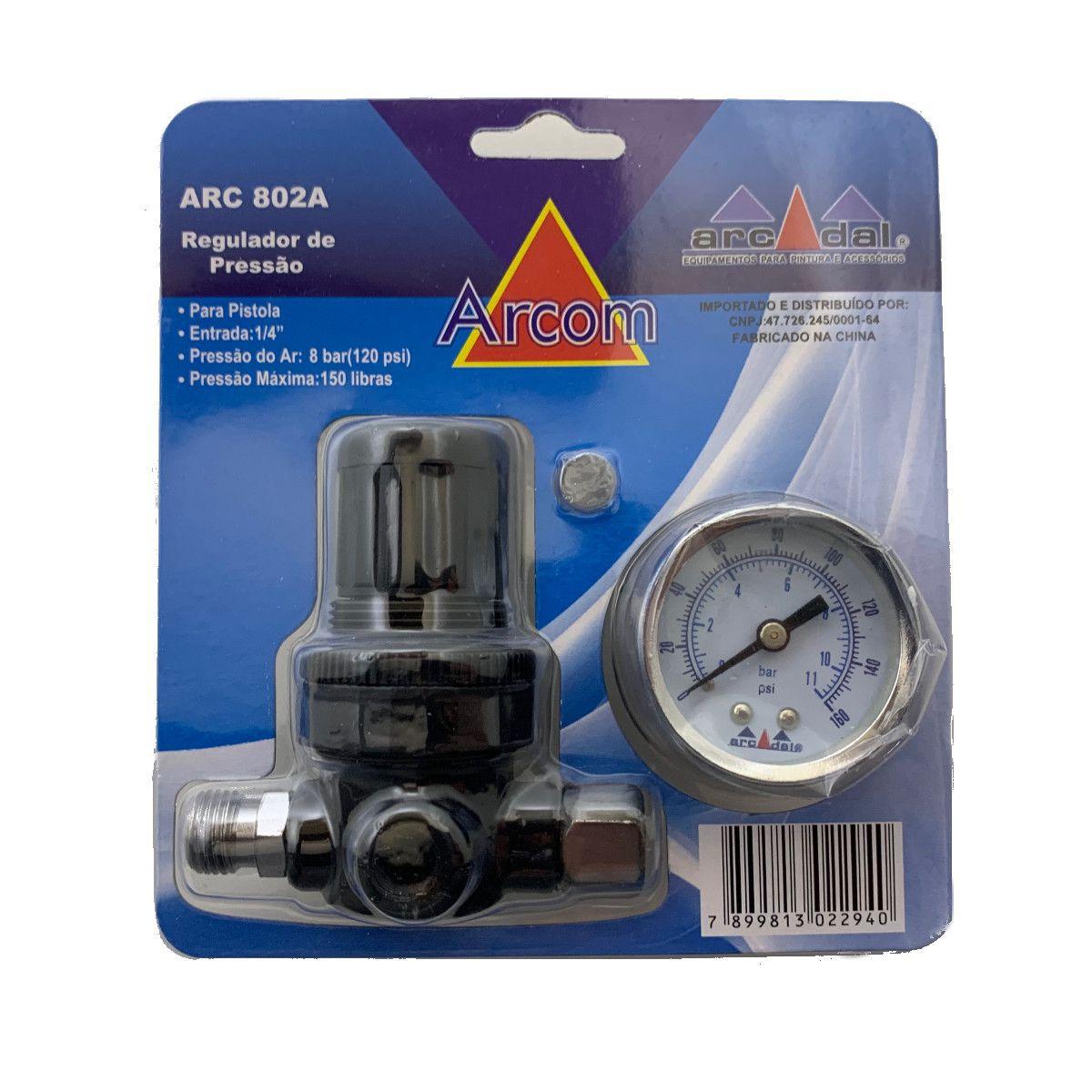 Regulador De Pressão Com Manômetro p/ Pistola de Pintura - ARCOM
