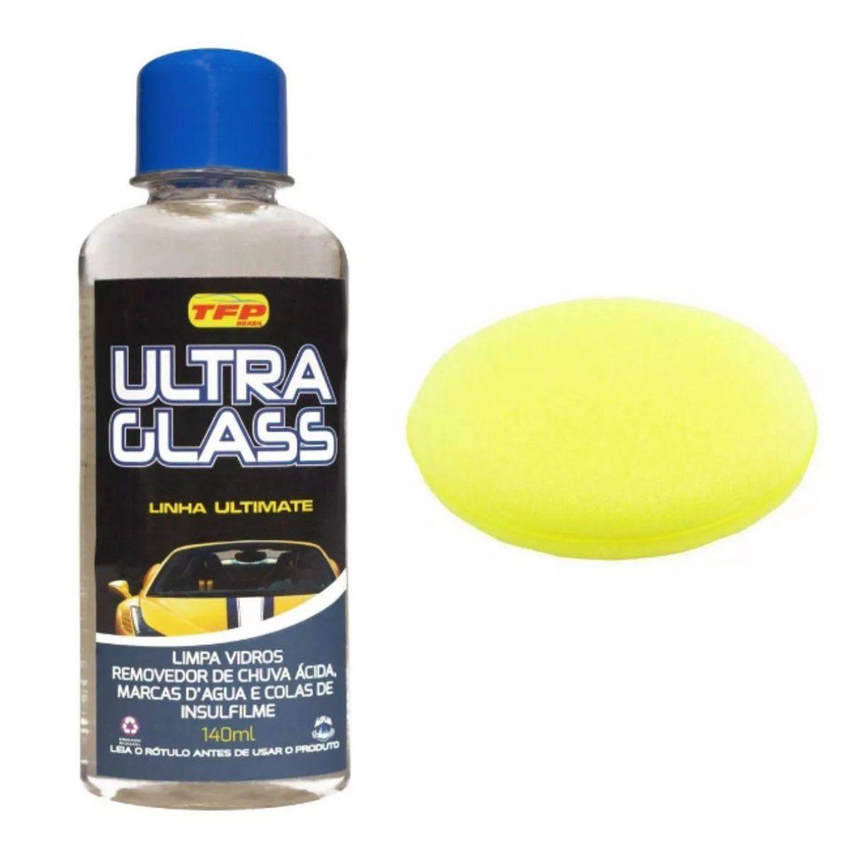 Removedor De Chuva Ácida Ultra Glass Tira Mancha Limpa Vidro + Esponja