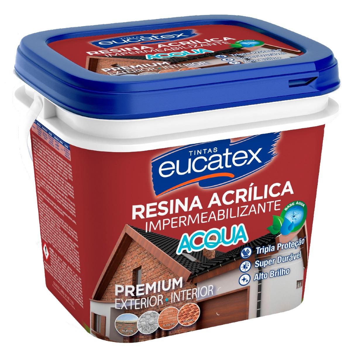 Resina Acrílica Multiuso Eucatex 3,6L (Brinde Rolo Espuma)