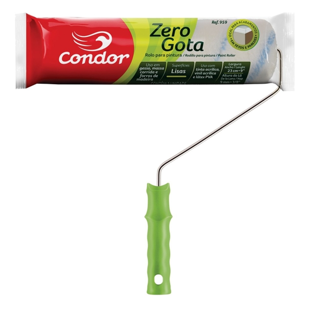 Rolo La Zero Gota C/c - 959 Condor Tamanho / Medidas:23cm Tamanho / Medidas:23cm Tamanho / Medidas:23cm Tamanho / Medida