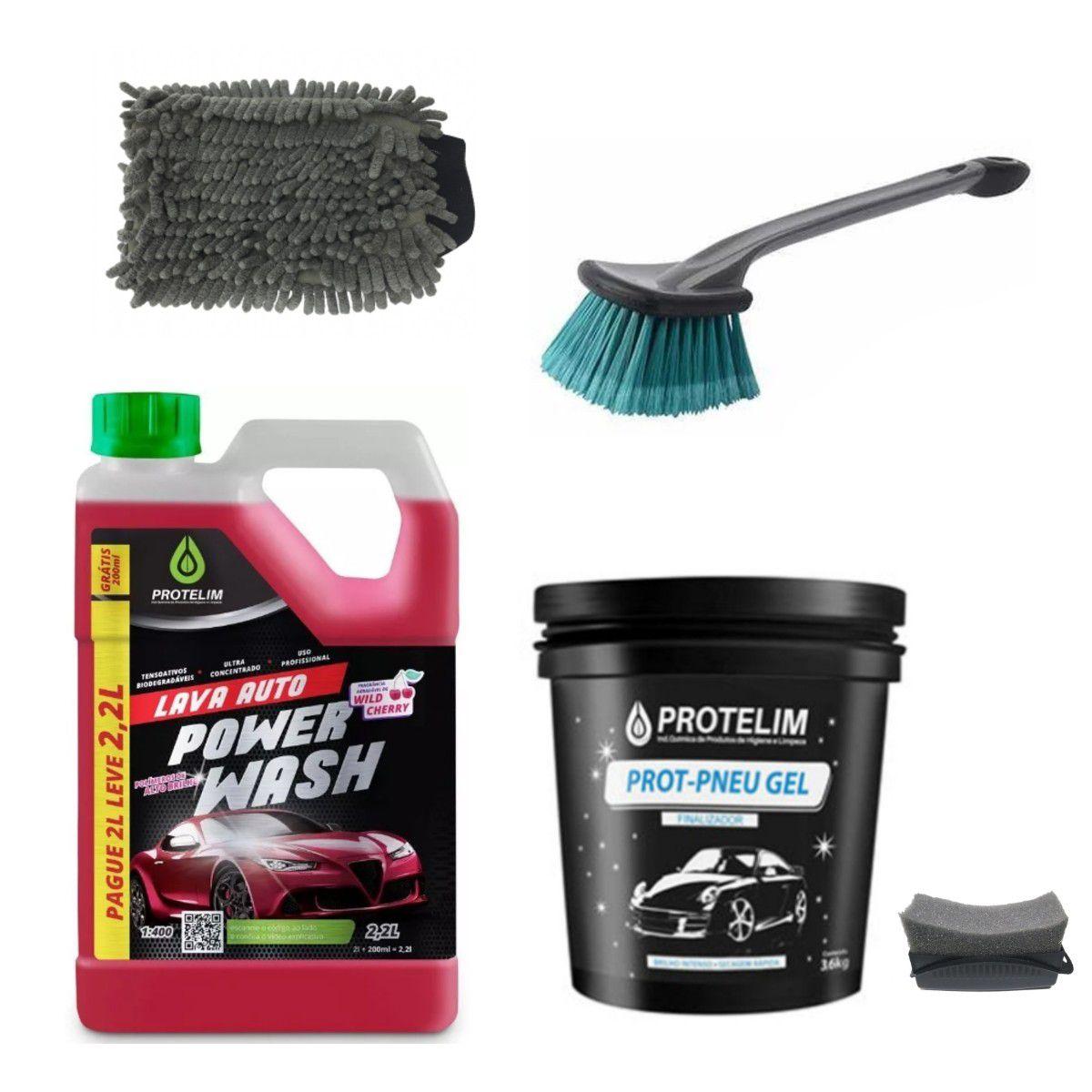 Shampoo Power Wash + Pneu Gel c/ aplicador + Escova e Luva