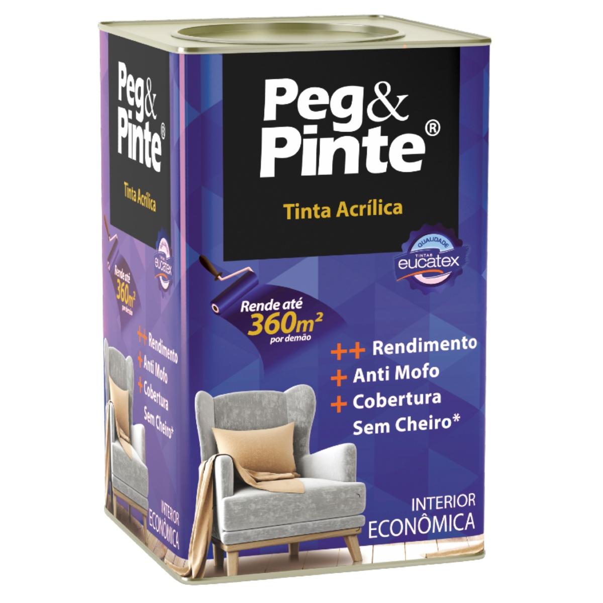 Tinta Acrílica Interna Economica Peg e Pinte 18L (Cores)