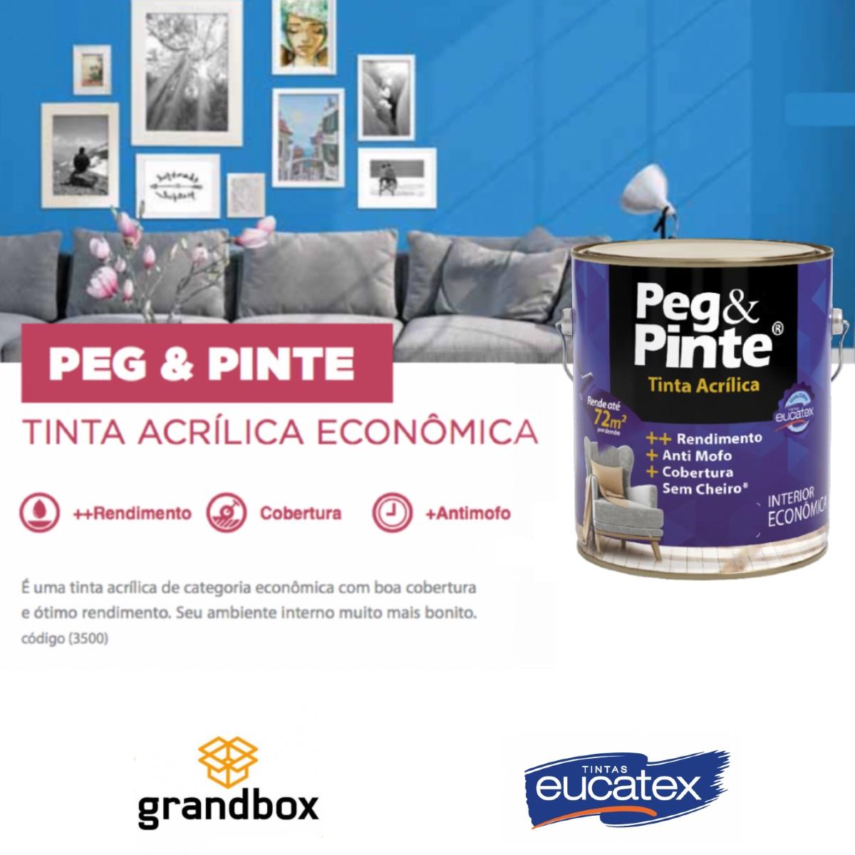 Tinta Acrílica Interna Economica Peg e Pinte 3,6L (Cores)