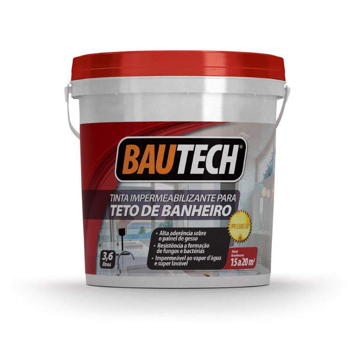 Tinta Impermeabilizante Para Teto De Banheiro 3,6l Bautech