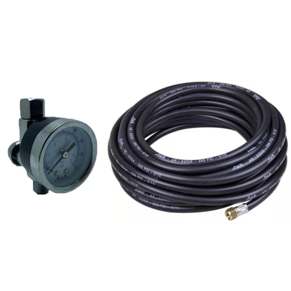 Válvula De Ajuste Ar + Mangueira P Compressor 5/16 X 10 Mt