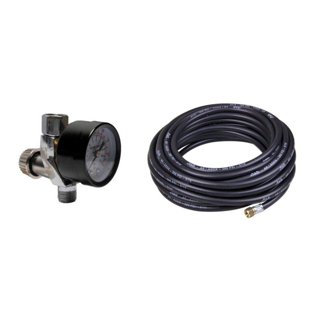 Válvula De Ajuste Ar + Mangueira P Compressor 5/16 X 15 Mt