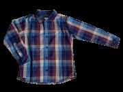 Camisa Tecido  M/L Xadrez Azul com Marfim 1+1