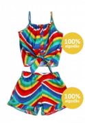 conjunto feminino colorido - precoce