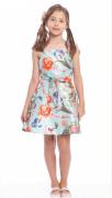 vestido estampado azul com flores 1+1