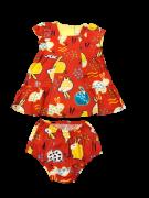 Vestido Laranja Estampa DE Coelho - Precoce