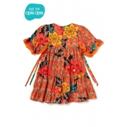 Vestido Laranja Maxi Floral - Camu Camu