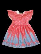 Vestido Rosa Folhagens Azul