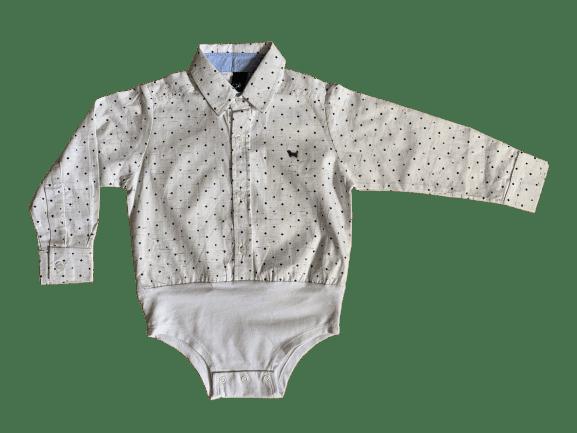 Camisa Social M/L Body Baby Cartas Branca 1+1